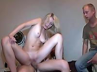 Leggy blonde bounds on dick of stranger before her BF.